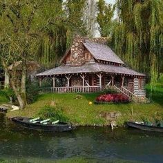 Log cabin with wrap around porch on the lake. Ideas for a pyrography. make the lake an Aussie river.the cabin more rustic. Lake Cabins, Cabins And Cottages, Small Cabins, Cabin In The Woods, Cabin On The Lake, Little Cabin, Log Cabin Homes, Cozy Cabin, My Dream Home