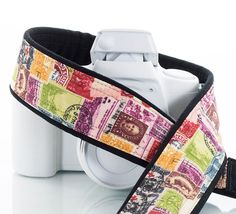 dSLR Camera Strap Stamps Vintage Postage Canon Nikon Sony by ten8e