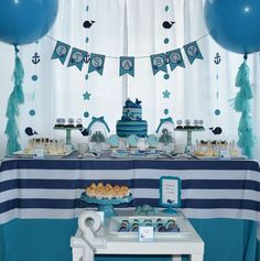 Dessert table at a whales baby shower party! See more party planning ideas at CatchMyParty.com!