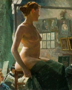 Alfred James Munnings - A Female Nude Seated at Julian's Atelier (1902) .