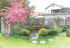 Gartenecke mit Ruinenmauern