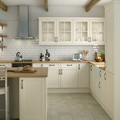 The Baker kitchen in the colour Tapicoa has classy, vintage style doors in a beautiful pastel finish. With special curved cabinets, bevelled frames and glass fronted doors. This kitchen works well with a timber worktop and vintage style handles.