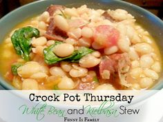 I love this delicious and hearty Crock Pot White Bean and Kielbasa Stew! #soup #slowcooking #onepot