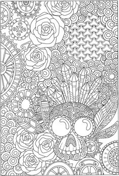 Psycho skull from Eerie Entangled Art coloring book Crayola Coloring Pages, Skull Coloring Pages, Pattern Coloring Pages, Adult Coloring Book Pages, Flower Coloring Pages, Animal Coloring Pages, Free Coloring Pages, Coloring Books, Coloring Sheets