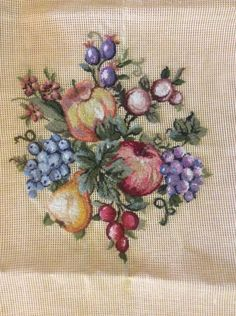 Pettipoint Preworked Needlepoint Canvas of Fruit to Complete
