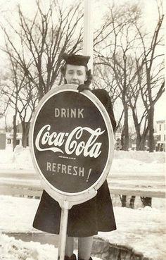 """Vintage Coca-Cola - """"Drink Coca Cola REFRESH """" Coca Cola Sign"""