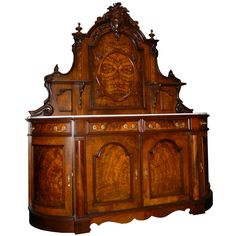 Nice American Victorian sideboard executed in walnut & burl with a white marble top.