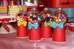 DIY gumball machines at a circus birthday party! See more party ideas at CatchMyParty.com!