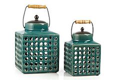 S/2 Square Ceramic Turquoise Lanterns