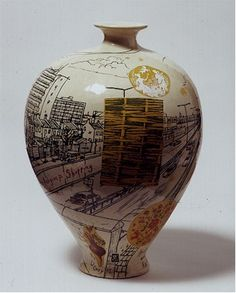 yellow - vase - Grayson Perry - ceramic - Sunset from a Motorway Contemporary Abstract Art, Contemporary Ceramics, Contemporary Artists, Ceramic Painting, Ceramic Art, Ceramic Bowls, Grayson Perry, Yellow Vase, English Artists