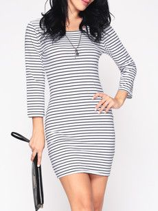 Fashionmia long sleeve black and white bodycon dresses - Fashionmia.com