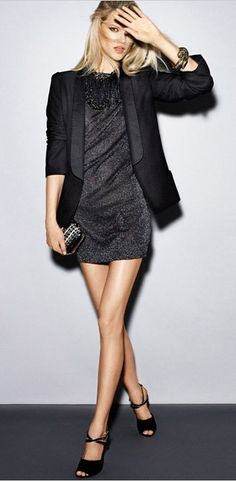 PARTY BLACK DRESS BLAZER -- add leggings, its almost what i wear to work EVERY day