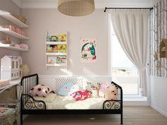 Girl's Bedroom Design With Soft Color Shades Looks So Charming Kids Room Design, Baby Design, Design Design, Design Ideas, Girl Bedroom Designs, Girls Bedroom, Design Bedroom, Cloud Cushion, Feminine Bedroom