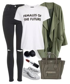 """""""Untitled #1672"""" by mihai-theodora ❤ liked on Polyvore featuring Chicwish, Topshop, adidas Originals, CÉLINE and MAC Cosmetics"""