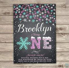 Winter Wonderland Snowflake Birthday Invitations Chalk by cardmint