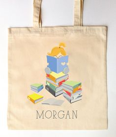 Little Reader Bookworm - Library Tote for Kids - Custom Printed Library Book Bag - Children's Tote Bag - I love Reading