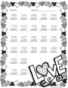 Need extra subtraction practice? This printable focuses on three digit subtraction. Most problems require regrouping. No prep, just print and go. There is an answer key included. Free Teaching Resources, Teaching Math, Teacher Resources, Math Subtraction, Addition And Subtraction, Math Worksheets, Math Activities, Second Grade Math, Fourth Grade
