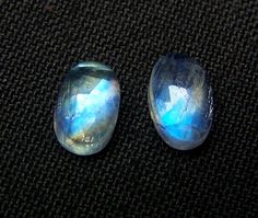 5 x 8 MM Blue Flashy White Rainbow Moonstone Rose Cut Oval Cabochon 1Pair AAA NR #DreamOfDesigners