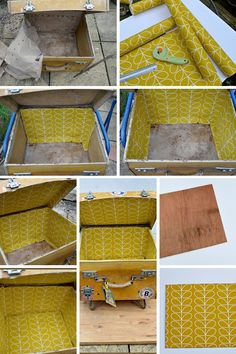 Upcycled vintage suitcase side table Lining a vintage suitcase with wallpaper - Vintage Suitcases, Vintage Luggage, Vintage Crafts, Upcycled Vintage, Vintage Ideas, Recycled Furniture, Plywood Furniture, Modern Furniture, Furniture Design