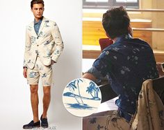 Asos Slim Fit Blazer in Beach Print -   Asos Shorts in Beach Print - $23.00 (40% off)  Worn with: Paul Smith shirt, Dr. Martens boots