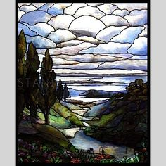 River Through Hills Stained Glass