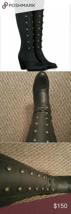 Duo Olson military style studded boots Fabulous military style studded leather wide calf boots by Duo. Company has been renamed Ted & Muffy since these boots were purchased. Boots measure 45cm or 17.7 inches at largest part of calf. These boots are versatile and would look great paired with skinny jeans, tights or a cute dress. Never been worn. Boot box included. Size 9 is a EUR 40 according to the company's size chart. Duo Shoes Heeled Boots