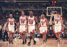 From L to R: Dennis Rodman, Scottie Pippen, Michael Jordan, Ron Harper, Toni Kukoc.