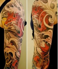 There is something compelling about this sleeve.  I love the swirls of negative space (wind?) and the Japanese woodcut waves and the fox that somewhat looks like a dragon?