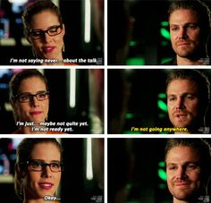 """#Arrow 5x20 """"Underneath"""" - """"I'm not saying never... about the talk. I'm just... maybe not quite yet. I'm not ready yet. I'm not going anywhere. Okay..."""" - #FelicitySmoak #OliverQueen"""