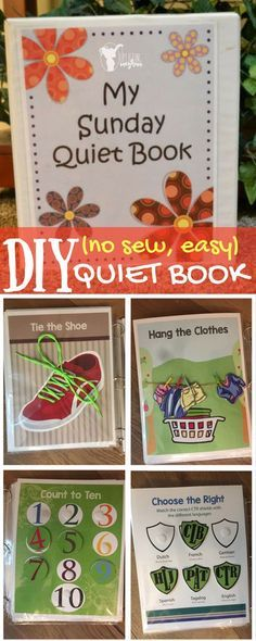 DIY (no sew, easy) Quiet Book FREE PRINTABLE. Adorable, educational book for quiet time like during church!