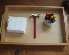 montessori shelves | The Wonder Years: Montessori This Week Love the hammering work, prefer to use a semi-firm clay pressed in to a box (reusable clay is more Eco-conscious).