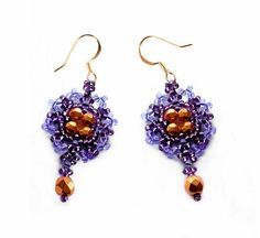 Free pattern for earrings Violet Click on link to get pattern - http://beadsmagic.com/?p=6264