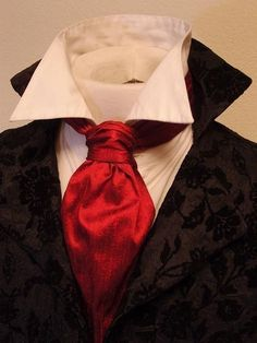 FORMAL Victorian Ascot Tie Cravat - Deep Red Dupioni SILK. £16.43, via Etsy.