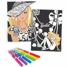 Barbie Velvet Poster Collection by Barbie. $11.99. Great activity for you and your friends. Poster collection includes 6 velvet posters in Barbie designs. Say goodbye to boring velvet art and decorate your favorite spaces with these fashionable posters. Markers stored in zippered pouch and attached to kit so your favorite artist materials are always close by. Customize your velvet poster with the 6 included markers. From the Manufacturer                Create a ... Colección De Barbie, Dibujos De Colores, Arte Del Juego, Marcadores, Artesanías Y Manualidades
