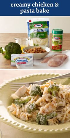 Creamy Chicken & Pasta Bake – Multigrain rotini pasta, broth, and three kinds of cheese take this yummy chicken recipe to a whole new level of dinnertime deliciousness.