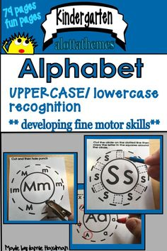 This pack includes fine motor activities that are perfect for small groups, centers, and more! Each of the activities practice learning the alphabet in a fun way!! HANDS ON!  Fine motor skills worked on are cutting/hole punching/printing. What a great way to learn the alphabet!!! #alphabet #printing #finemotor #kindergarten #morning work  #tabletime  #centerideas Learning The Alphabet, Alphabet Activities, Motor Activities, Reading Activities, Kindergarten Themes, Kindergarten Classroom, Classroom Ideas, Alphabet Coloring, Learning Through Play