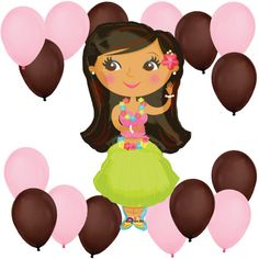 Hula Girl - Balloon Kit for Baby Showers or Birthday Parties #BigDot #HappyDot #luauparty