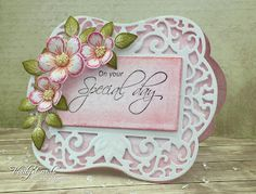 Yay as promised here is my card I made for my Aunt & Uncle's anniversary!Yes it's pink! lol!!!!!  I just fell in love with this die from Spellbinders and couldn't resist!(Labels 54 Decorative Element