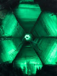http://unearthedgemstones.tumblr.com/ Looking down the crystal axis of a backlit 58.83 ct trapiche emerald from Peñas Blancas (also featured on the cover of this issue). Photo by Robert Weldon/GIA,...