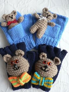 TEDDY MITTS & GLOVES by Lorna Musk Children's mitts (ages 3-10) & gloves (ages 5-10) in Double Knit (or equivalent) with Teddy motifs. Mitts feature Tiny Ted in his own pocket. Suitable for using up oddments of yarn.