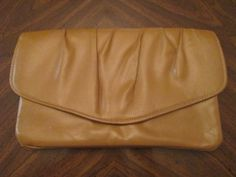 Vintage 1970's Tan Clutch Handbag by LMTDInteriorConsults on Etsy