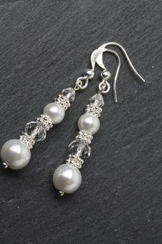 Pearl and crystal earrings Bridal earrings by BijouxKarmaJewelry
