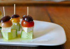 Easy party snacks- Greek salad skewer (tween friendly: sub mozzarella for feta)