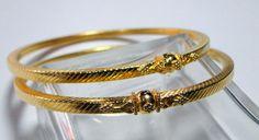 22 Carat Solid ` Gold Handmade Bangle Chudee Bracelet Pair 916 | eBay www.tribalexport.com