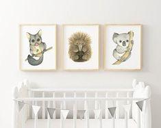 Australian Nursery, Australian Animals, Watercolor Animals, Watercolor Art, Beach Baby Rooms, Nursery Art, Nursery Ideas, Woodland Art, Baby Boy Nurseries
