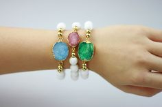 Gold Plated Druzy Quartz Beaded Bracelet