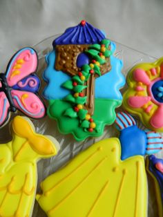 Repunzel's Tower, Decorated Sugar Cookies, Snow White's Dress, Butterfly