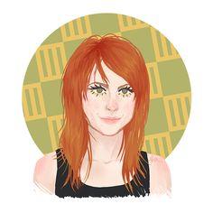 Hayley #1. Look: Hayley Williams, Paramore, hairstyles, orange hair, illustration, design