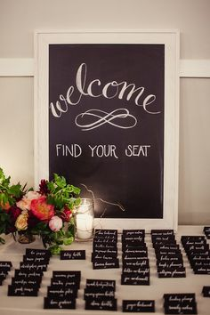 Classic black and white place cards make a simple chalkboard sign look sophisticated.