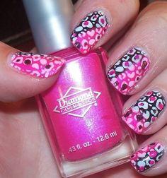 nail-art-designs-pink-and-black-cheetah-nails-TTumblr